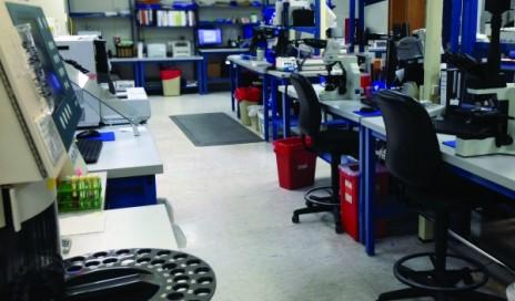 消除视觉障碍和靠近工作站促进了实验室效率和实验室技术之间的交流。照片由纽约中部实验室联盟提供。