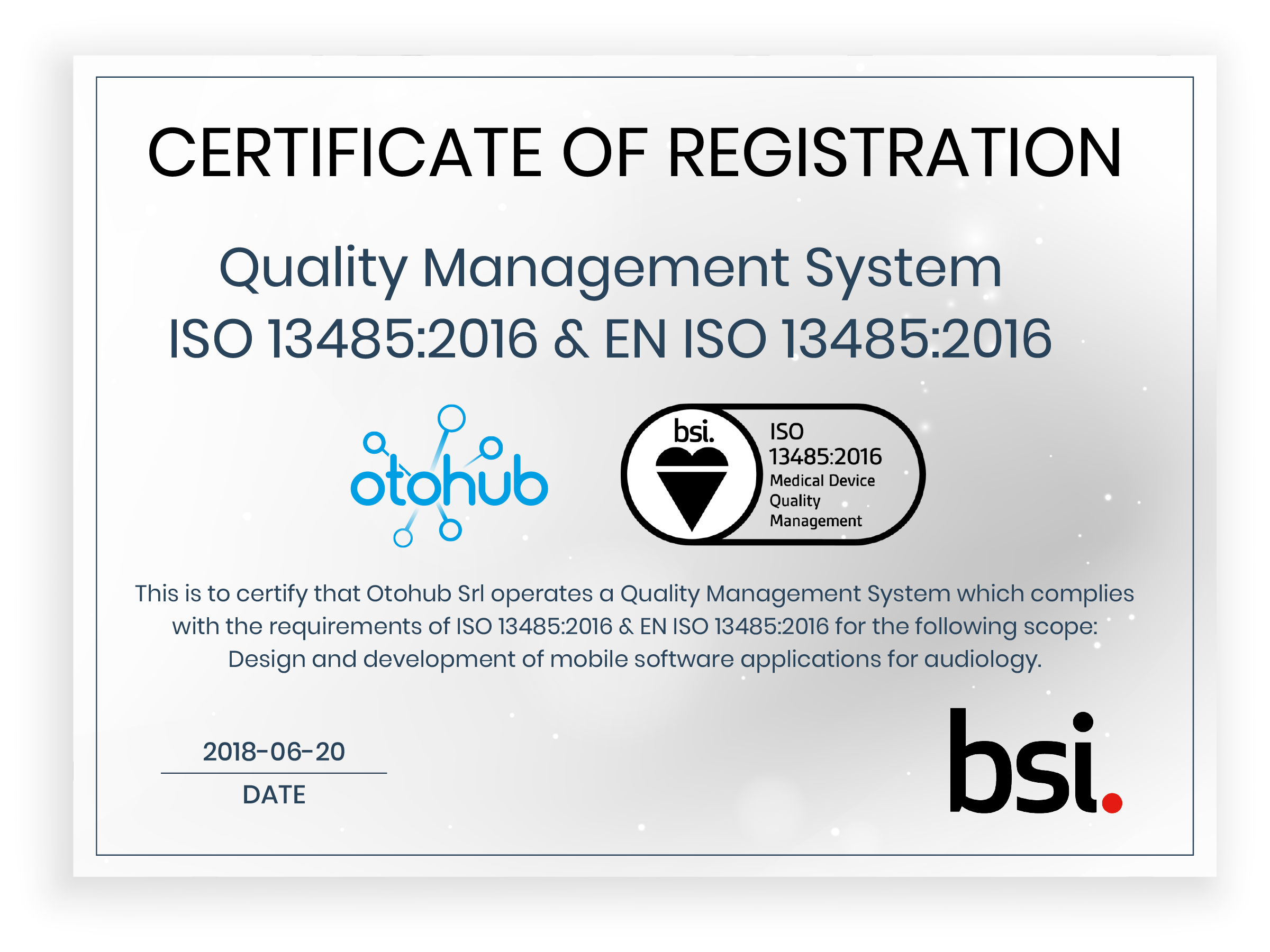 Otohub Srl Receives Iso13485 Certification Hearing Review