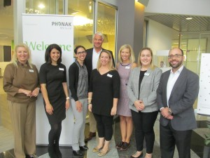 Barb VanSomeren, Lori Rakita, Kailen Berry, AuD, Jan Jan Metzdorff, Christine Jones, AuD, Anna Nicole Klutz, AuD, and John Urbaniak at Phonak US headquarters near Chicago.