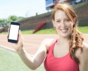 http://www.dreamstime.com/stock-photos-woman-training-cellphone-holding-place-image50569343