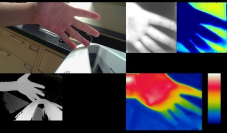 A composite image showing the multiple sensing capabilities of a prototype medical sensing device developed by GE researchers with the U.S. Department of Veterans Affairs (VA) Center for Innovation. Top-Left: Visual RGB Image; bottom-left: 3D Image; top-right: Multi-spectral Imaging and Recovered Feature Map and bottom-right: Thermal Imaging. Each of these provides insights to help assess whether a bed sore may be healing, getting worse or becoming infected. (Image courtesy of GE Global Research.)