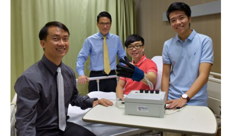 A research team from the National University of Singapore has developed a new lightweight and smart rehabilitation device called EsoGlove to help restore hand movement in patients who have lost their hand functions due to injuries or nerve-related conditions. (Photo credit: National University of Singapore)