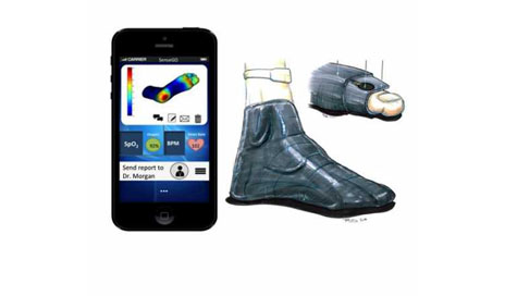 SenseGO, developed by students at the Hebrew University's BioDesign program, pairs pressure-sensing socks with smartphones to reduce foot ulcers in diabetic patients. (Photo courtesy of The Hebrew University of Jerusalem)