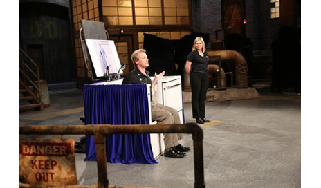 Matthew Longman and Shari McDowell, founders of Aquassure Accessible Baths, demonstrate the Slide-In Bathtub on the Canadian reality show Dragon's Den. (Photo courtesy of CNW Group/Aquassure Accessible Baths.)