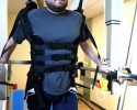 At the International Center for Spinal Cord Injury at Kennedy Krieger Institute, a 36-year old, male with paraplegia secondary to intramedullary hemiangioblastoma works on locomotor training during a therapy session with a robotic assist.
