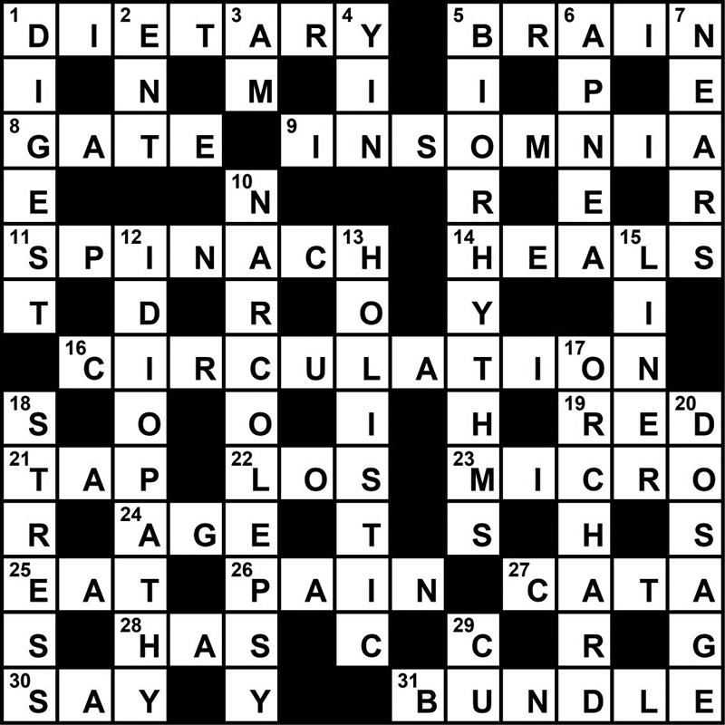 Crossword Puzzle Sleep Medicine Themed Clues Novemberdecember