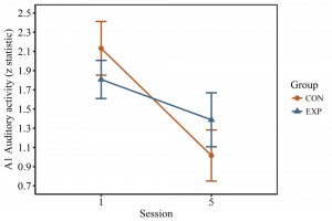 Activation of the primary auditory cortex in response to binaural stimulation. Activation significantly decreased from session 1 to session 5.